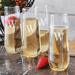 occhiali da cristallo Sconti macchina di qualità premium di abitudine soffiato stampa a caldo / incise logo chiavetta flauti bicchiere di vino chiaro stemless bicchieri di champagne
