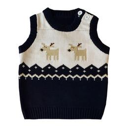 2019 muchachos del chaleco de navidad De dibujos animados sin mangas niños chaleco niños niños niña niño invierno navidad ciervos suéter de punto chaleco cálido muchachos del chaleco de navidad baratos