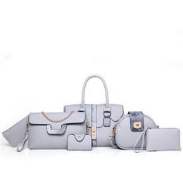 2019 женская сумка 6шт. 6шт / набор конструктора сумки Женщина Lash Пакет композитного мешок Кожа PU Личи шаблон тотализатор плечо Crossbody сумка сумка сцепление скидка женская сумка 6шт.
