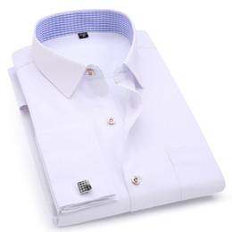 Polsini colorati camicie casual online-Camicia elegante da uomo Polsino francese Camicia casual bianca a maniche lunghe da lavoro blu Camicia slim fit in cotone tinta unita slim fit SH190719