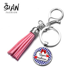 candy bags keychain Coupons - SONGDA Fashion Super Mistress Keychain Bag Charm High Quality Candy Colors Leather Tassel Key Chain Holder Teacher Gift Trinkets