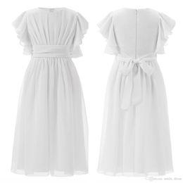 navy schwarz weißer stoff Rabatt Chiffon Weiße Blumenmädchenkleider für Hochzeiten Rüschen Mädchen Festzug Geburtstag Abendkleider Kommunionkleider SF019