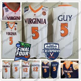 Cavaliers basketball online-2019 Campeones Virginia Cavaliers Kyle Guy Jersey blanco # 5 UVA NCAA Final cuatro 12 De'Andre Hunter Baloncesto azul marino Jersey XXXL