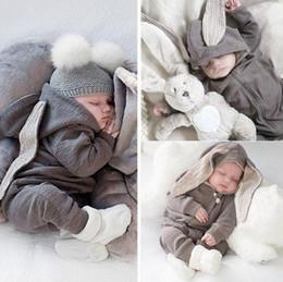 Macacão de coelho bebê on-line-Baby rompers recém-nascido da menina do menino do coelho do bebê Romper com capuz Macacão Bodysuit Clothes