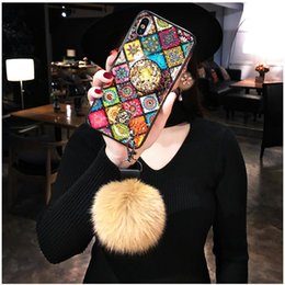 pelzball für iphone Rabatt Hairball Diamond Airbag-Bracket Hülle für iPhone X 8 Plus 7Plus Bling Marble Kickstand Hülle mit Fiber Soft Fur Ball für iPhone X XS Max XR