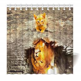 Canada Rideau de douche en tissu en polyester résistant à la moisissure, avec crochets reflet du chat et du lion supplier 48 x 72 shower curtain Offre