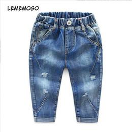 Canada Lememogo 3-6 Année Automne Mode Garçons Jeans Pantalons Coton Printemps Léger Taille Élastique Enfants Denim Jeans Pour Bébé Enfants Pantalons J190517 supplier 5t elastic waist jeans Offre