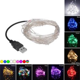2019 fio de cobre flexível 9 Cores 5 V USB Flexível LED String Luz 5 M 50 LEDs 10 M 100 fios de Fio de Cobre de cobre Luz de Fada Festa de Natal Decoração de Iluminação de Casamento fio de cobre flexível barato