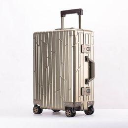 2019 деловые сумки для багажа LeTrend 100% алюминиево-магниевый сплав Роллинг Багажник Spinner Мужчины Деловой чемодан Колеса 20-дюймовая кабина Тележка Дорожная сумка скидка деловые сумки для багажа