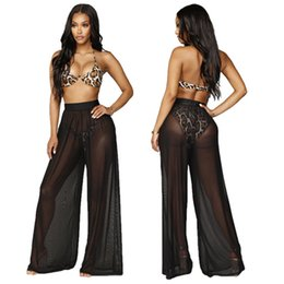 Jambe de couverture en Ligne-2019 Femmes Plage Mesh Bikini Cover Up Maillots De Bain Transparent Long Pantalon Large Jambe Pantalon Plus La Taille S-2XL