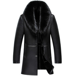 Меховые воротнички пальто мужчины 4xl онлайн-Russian Winter  Fur Collar Leather Jacket Men New Business Casual Medium Long Windbreaker Coat Male Sheep Skin Jacket 5XL