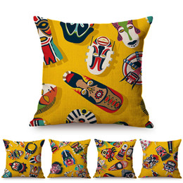 Canada Afrique du jaune Cartoon tribal Masque Sofa Design Throw Taie Nation africaine Culture Art Coton Lin Coussin décoratif Couverture Offre