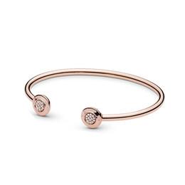 4c50dbc98f7312 Bracciale rigido per donna in oro rosa 18 carati Scatola originale per bracciali  aperti argento 925 Bracciale in argento sterling con firma di Pandora ...