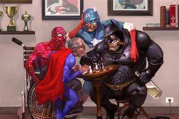 2019 super eroi arte Super Heroes Super Viejo, Home Decor HD Stampato Pittura di arte moderna su tela (senza cornice / con cornice) super eroi arte economici