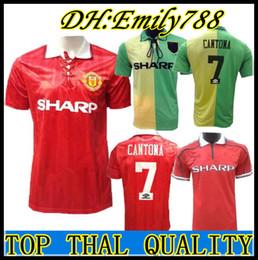 69f52b1d55 2019 camisa vermelha Cantona 93 94 Homem Beckham Camisa de Futebol 1993  1994 Retro UTD camisa