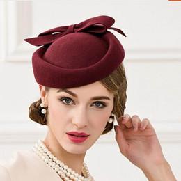 Britischer kleiner hut online-Damen Fedoras Wollmütze New Female Nobles Hat Damen Wollmütze Vintage Cap Small British Banquet Cap