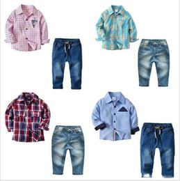 camisas de algodão denim Desconto Bebê Crianças Roupas Meninos Cavalheiro Outfits Camisa Xadrez Calças Jeans Denim Verão Formal Tops Calças Ternos Criança Moda Roupas de Algodão Se A5187