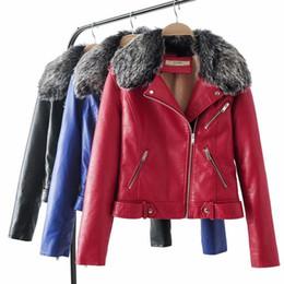 colletto di pelliccia blu di faux Sconti donne inverno caldo PU giacca in  pelle collo in 3d7a3481c696