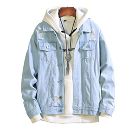 Джинсы chaqueta онлайн-Новый 2019 мужчины джинсы куртка мужская бомбардировщик куртки мужчины хип-хоп человек старинные джинсовая куртка пальто уличная Chaqueta Hombre S XL XXL