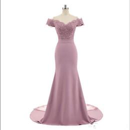 2019 vestidos de primavera para convidados Chegada Nova Rosa da sereia da dama de honra vestidos de festa V Neck Cap Sleeve Lace Vintage Appliques frisada Vestidos Vestido de Festa
