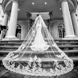 Deux couches longues voiles de mariage dentelle Applique cathédrale longueur voile de mariée Velo Accessoires Mantilla Avec peigne ? partir de fabricateur