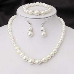 2019 verlobungsarmbänder Hochzeit Engagement Frauen Simulierte Perlen Schmuck Set Halskette Ohrringe Armbänder Modeschmuck Für Dame Party Geschenk günstig verlobungsarmbänder