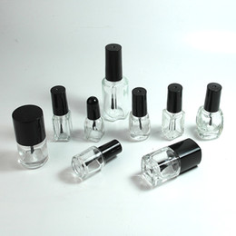 bouteilles en forme de carré Promotion Vernis à ongles en verre gélatine en verre clair Bouteilles d'huile à ongles 5-8-10-12-15ml Forme carrée ronde avec bouchon à vis en plastique noir