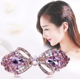 barrette di prua di cristallo Sconti 3Pcs 2019 New Beautiful Bow Candy Disegni Rhinestones di cristallo Hair Clips Wedding Bridal Barrettes Gioielli per capelli