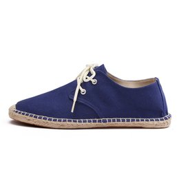 Mocasines cómodos para hombre. online-Hombres Zapatos de Lona de Verano Moda Transpirable Ocasional Mocasines Planos conducir perezoso Cómodo Espadrille Pescador Zapatos de Lino Sapatos Hombres