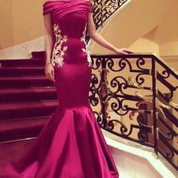 Abiti arabi Abiti da sera Off Spalle pieghe Appliques Paillettes Sirena Abiti da sera Lungo in raso con zip Dubai Abaya Cocktail Dress Prom da