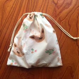 weiße baumwoll-tunnelzugtasche Rabatt 1pc Cotton Kordelzug Beutel Mehrzwecktasche Weiß Niedrige Cartoon-Rotwild-Weihnachtsfest-Geschenk-Tasche Yile