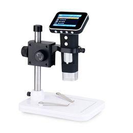 "Lupas electronicas online-Pantalla LCD portátil de 3.5 ""X 500 con cámara de microscopio digital integrada Lupa de endoscopio electrónico 500X veces con monitor de diamante de pie"