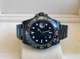 2019 montres à lustre Mens superlative 40mm lunette en céramique GMT 116710 116710LN PVD noir affaire Saphir Asie 2813 mouvement automatique Mens glow blue montres montres à lustre pas cher