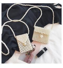 Bolsa de moedas de tecido on-line-2019 10 Styles Womens frisados bolsas artesanais Weave Messenger Bag Crystal Pearl Bolsas Meninas do encanto Coin Bolsas Presente de Natal M848F