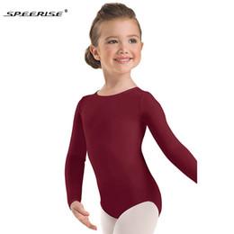 2019 cerniera del costume della tuta Speerise Toddler Long Sleeve Body ginnastica Body per ragazza Lycra Spandex Zipper Body Body Ballet Dance per bambini Q190604 cerniera del costume della tuta economici