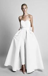 Arcos brancos para vestidos de noiva on-line-Krikor Jabotian Branco Macacões Bow Sash Vestidos de Casamento Com Saia Destacável Querida Até O Chão Calças Festa Formal Vestidos de Noiva