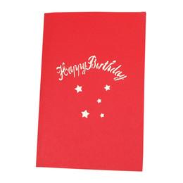 Wholesale 3D Aniversário Acima Cartões Postais Handmade Dia Dos Namorados DIY Bênção Feliz Aniversário Com Envelope Cartão de Presente Bolo