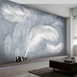 Mural de la moda online-Modern Fashion Feather Wallpaper 3D Hand-Painted Photo Wall Mural Living Room Bedroom Creative Art Wallpapers Papel Mural