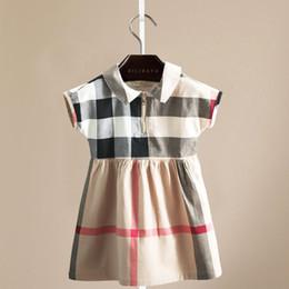 Jahre altes kleid lässig online-Mädchen lässig kariertes Sommerkleid ärmelloses Kleid Kinder 2-7 Jahre alt britischen Stil Revers Baumwollkleid in das Kind Mädchen Rock