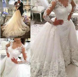 alto colarinho designer vestidos de noiva Desconto Dubai Lace Sereia Vestido De Casamento Com Trem Destacável 2019 Vestidos de Casamento de Manga Longa Frisado Bordados Apliques Vestido De Casamento