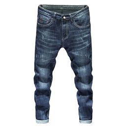 2019 рваные джинсы корейские мужчины Fashion Mens Jeans 2019 Korean Style Hip Hop Spring Autumn Ripped for Men Solid Cotton Full Length Mid Blue Color Sale,X3160 дешево рваные джинсы корейские мужчины