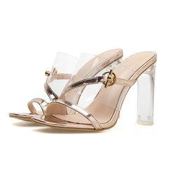 Flip flops in plastica online-Pantofole infradito donna con tacco alto sandali in gelatina sandali con tacco alto scarpe con tacco quadrato in plastica trasparente. LX-103