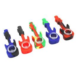 Pipa in silicone Stili di chitarra Bruciatore a nafta Tubi da tabacco Tabacco con ciotola in vetro Pipa in silicone multicolore VT0014 da regali all'ingrosso della giamaica fornitori