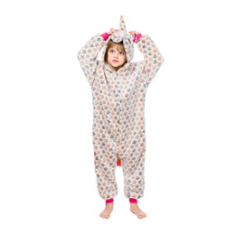 Baby kapuzenjacke online-Kinder Einhorn Schlafanzug Baby Kapuzen Einhorn Nachtwäsche Jungen Mädchen Cartoon Onesies Kinder Flanell Tier Cosplay Kostüm Strampler GGA2455