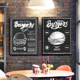 Esboços de fotos on-line-Burger menu Pôsteres Tela de desenho e pintura Prints Black White Pictures Restaurant Hamburger Loja Wall Art Decor Canvas