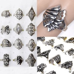 Anéis de estilo tibetano on-line-Moda Dedo Jóias Lotes 100ps Estilos Mistos Tibet Cor Prata Liga Anéis Para Mulheres Homens Anéis Do Vintage Frete Grátis
