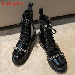 chaînes de démarrage de moto Promotion krazing pot nouveau star en ligne en cuir verni microfibre à lacets croisés med talons en métal bottes de moto bottes bottines l78