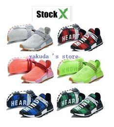 Negozi di baseball online-The Pharrell Williams Hu Superfici in plaid rosso, plaid verde, plaid blu, negozio online di streetwear yakuda. Scarpe da corsa della razza umana,