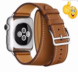 Relojes correas largas online-Correa de cuero de lujo para iwatch para banda de reloj de Apple Extra larga 38 mm 42 mm 40 mm 44 mm para iwatch Serie 4 2 3 1 cinturón