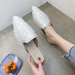 men black lowest shine shoes Coupons - Summer Ladies Mules Women Shoes Woman Slippers Fashion Low Heels Slippers Female Crystal Shine Pointed Toe Elegant Casual Shoes